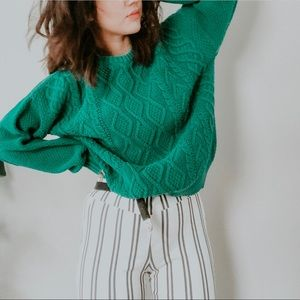 VINTAGE • emerald green textured woven oversized